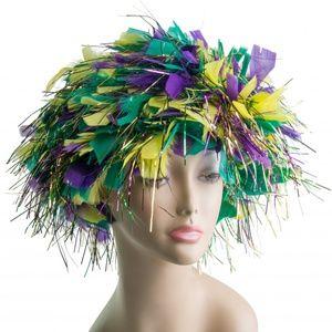 Mardi Gras Feathered Wig
